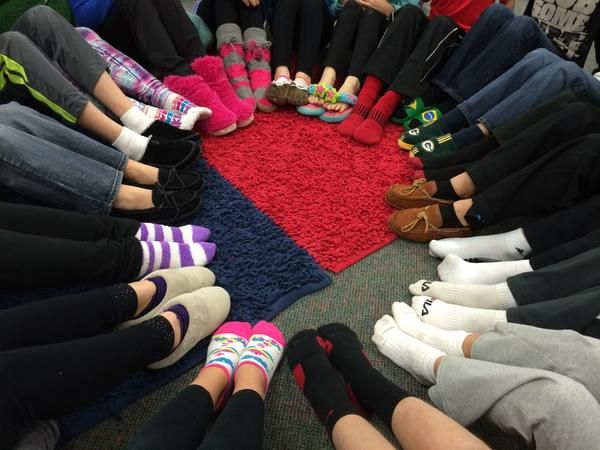 """Wearing our slippers in honor of """"Grandma"""" on the last day of The Fourteenth Goldfish! #GRAGoldfish @mertonint"""