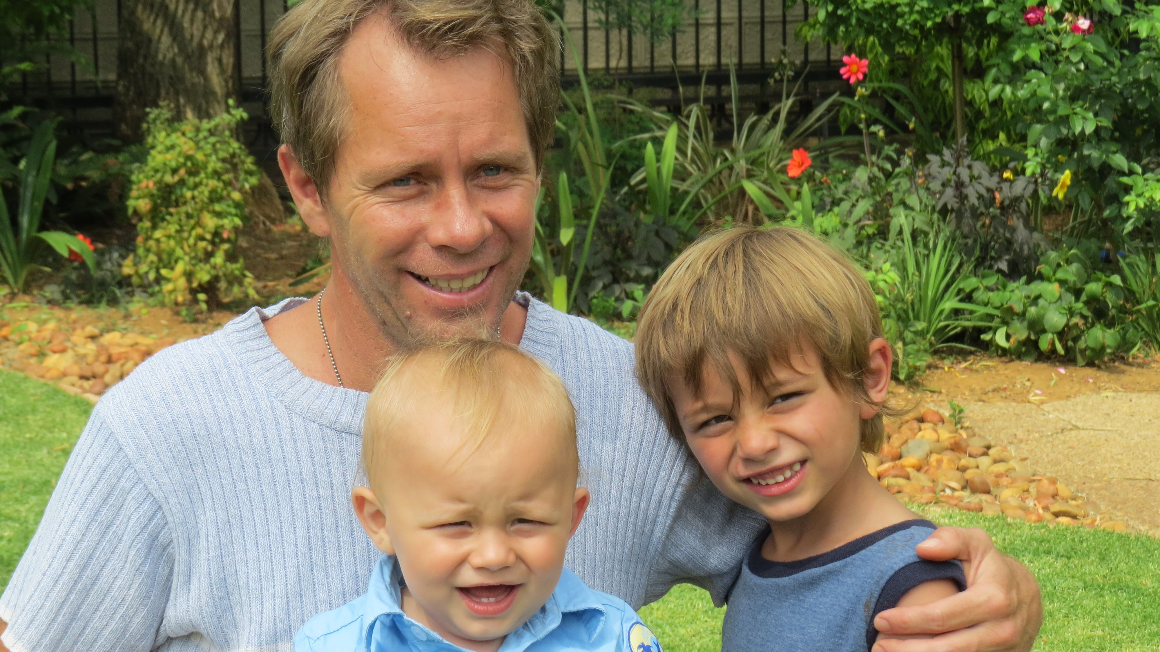 Dad with his boys, Joshua (5) and Luke (18 months)