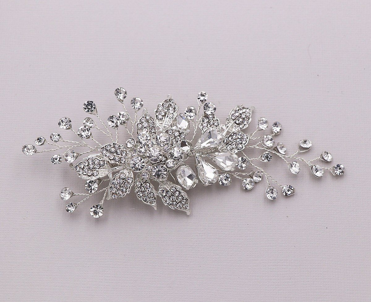 bridal comb crystal, large wedding hair comb, handmade