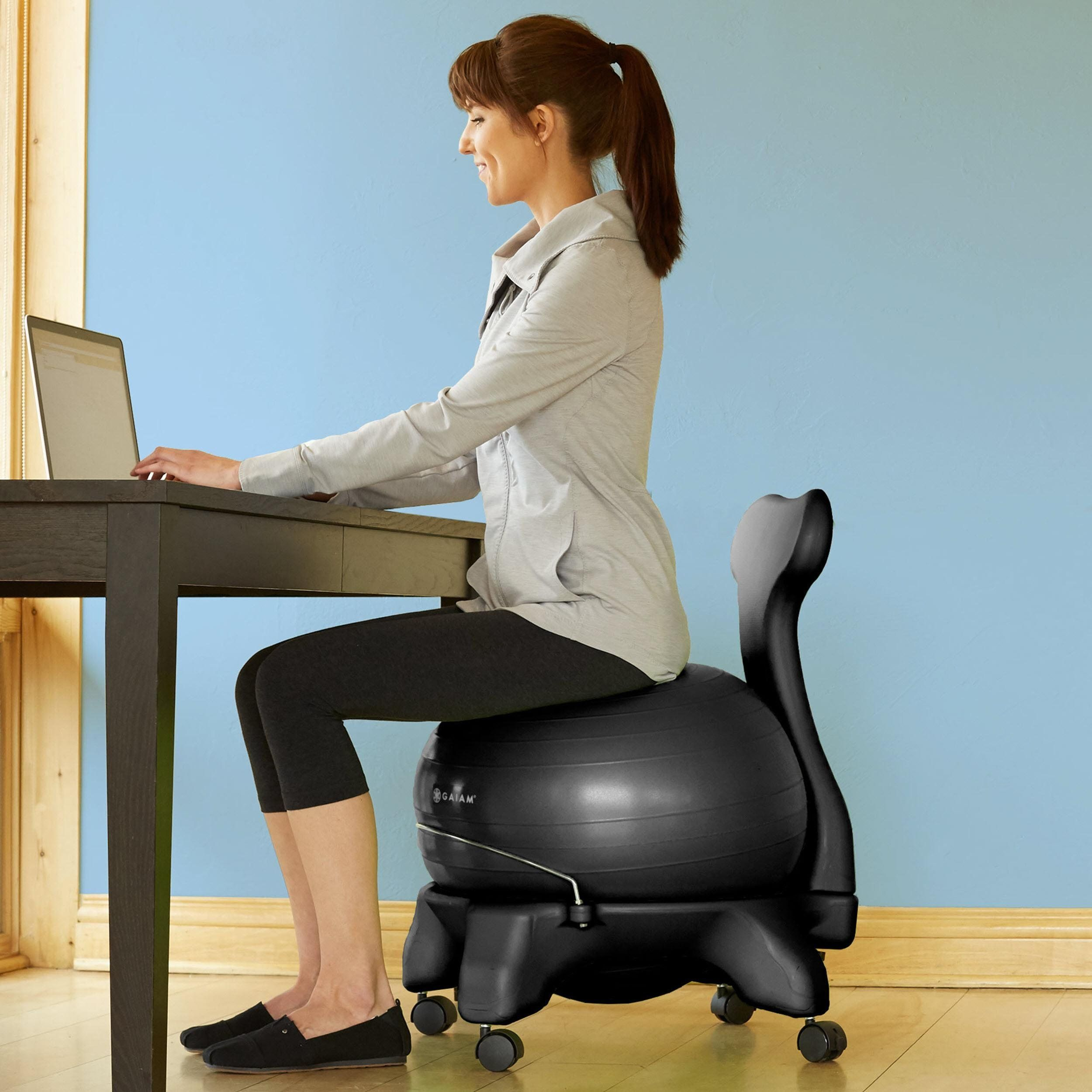 Ball Chair Amazon Steel Without Handle Com Gaiam Balance Black Exercise Balls Sports Outdoors