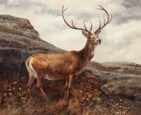 Leon Frias (Spanish, b. 1946-) A Stag in a Landscape Oil on canvas 21 x 25-3/4…
