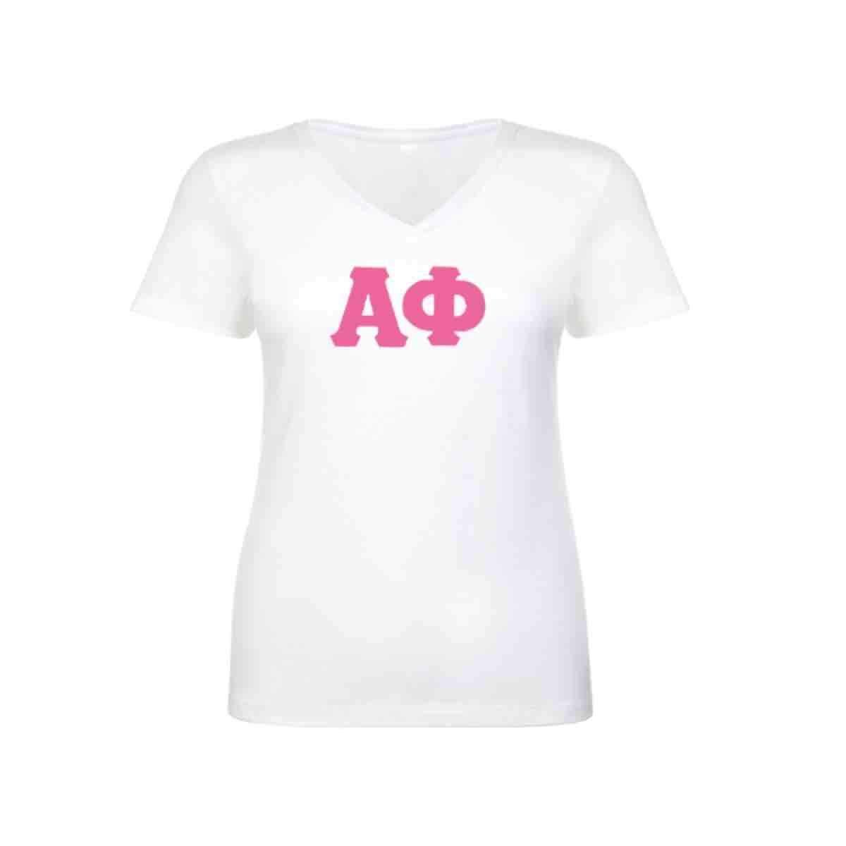 Alpha Phi V-neck . Pink Stitched Greek Letters (Crew or V ...
