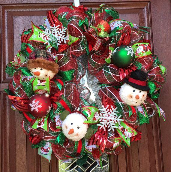 Green And Red Snowman Deco Mesh Wreath Christmas Wreath Holiday Wreath Holiday Decor Deco Mesh Christmas Wreaths Christmas Wreaths Christmas Mesh Wreaths