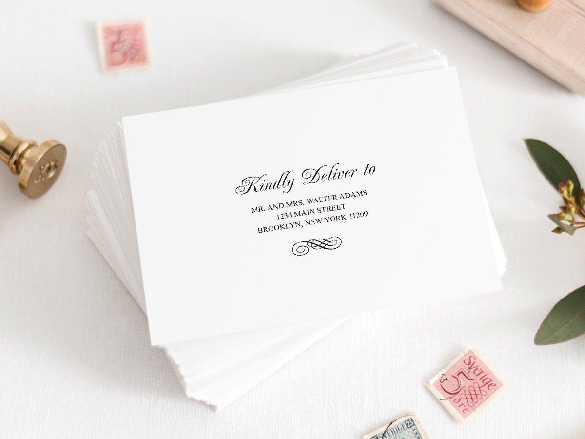 Wedding Envelope Template Simple Ornament Black Diy Etsy Envelope Template Wedding Envelopes Printing Labels