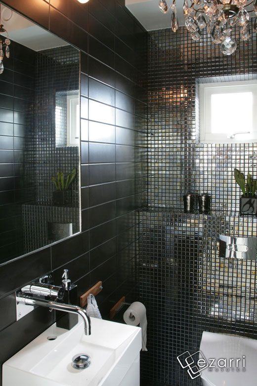 Emaux de Verre Ezarri Lava, mosaïque salle de bain noir métallique