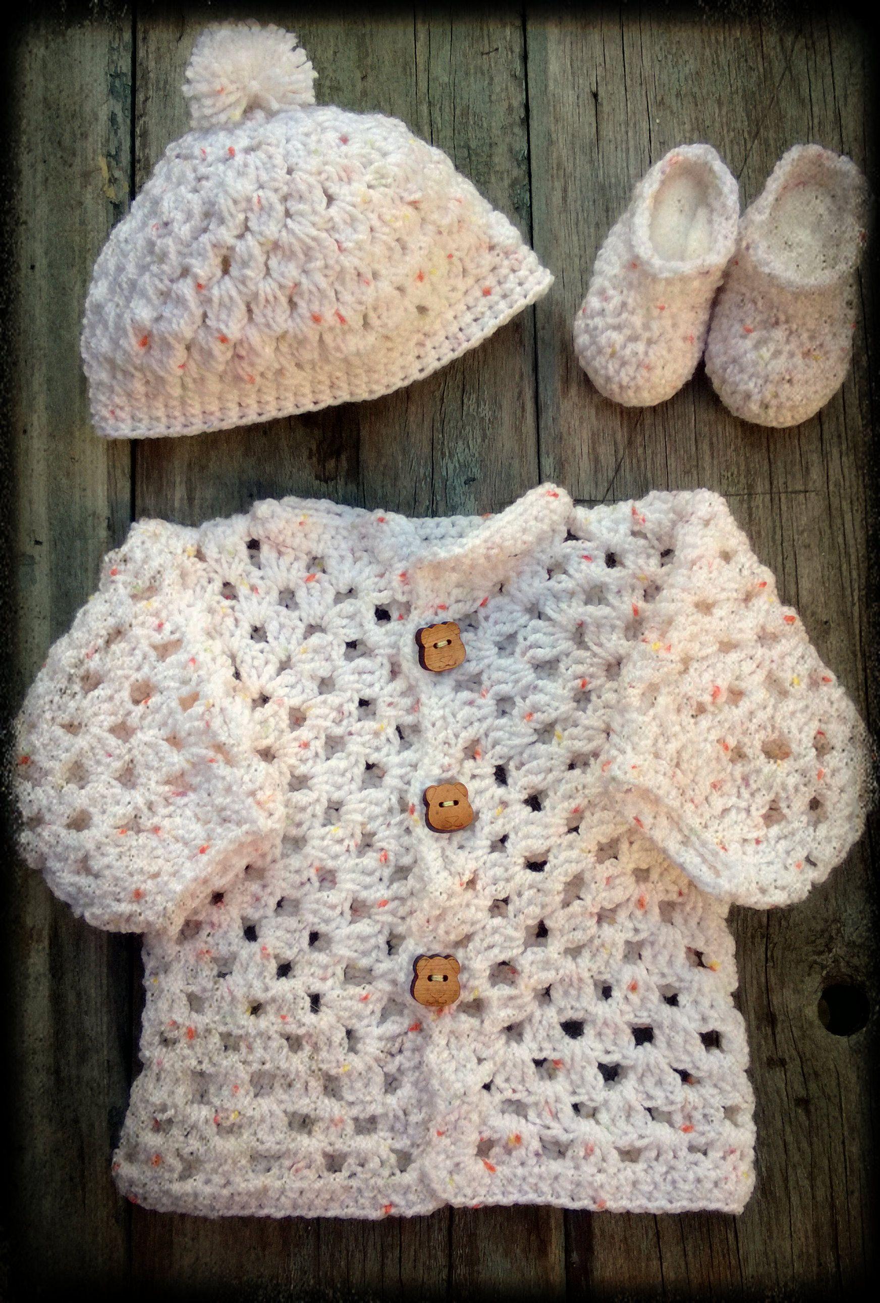 Crochet, ganchillo - Recien Nacido- Conjunto de hilo - Gorrito con ...