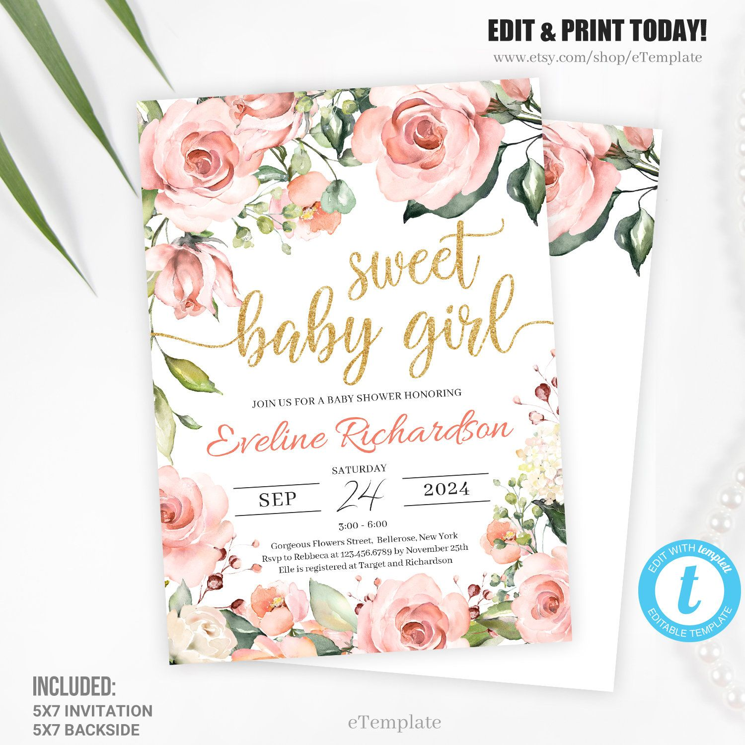Blush florals baby shower invitation template edit with