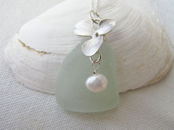 Scottish Sea Glass Necklace  ORCHID  Bridal by RainbowsontheBeach, $35.00