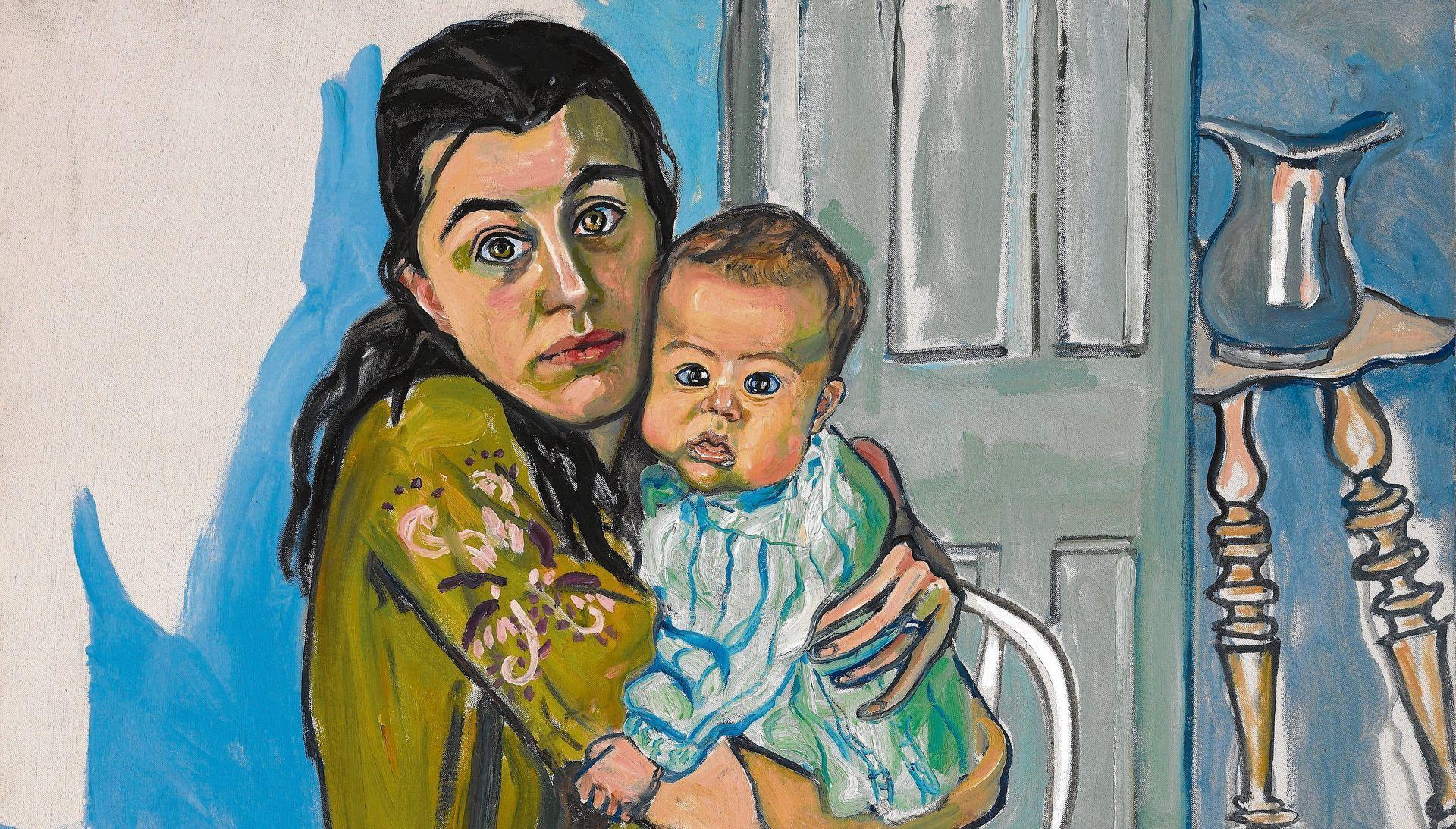 Detail uit Mother and Child (Nancy and Olivia), 1967, Olieverf op doek, 99,7 x 91,4 cm. The Estate of Alice Neel