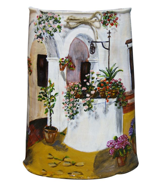 Pozo teja pintada tejas decoradas pintu - Pintar tejas de barro ...