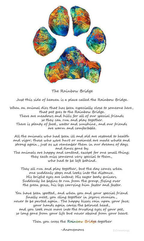 Rainbow Bridge Poem With Colorful Paw Print by Sha