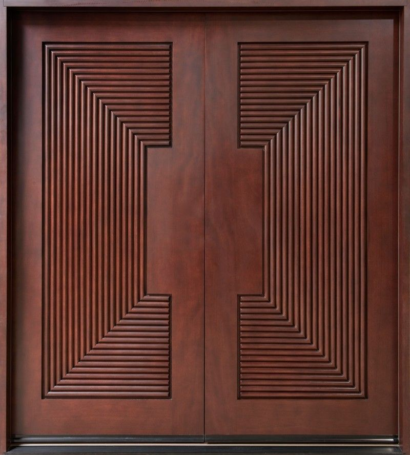Exterior, Awesome Custom Mahogany Wood Entry Doors With Square Carving  Ornament: Awesome Modern Entry