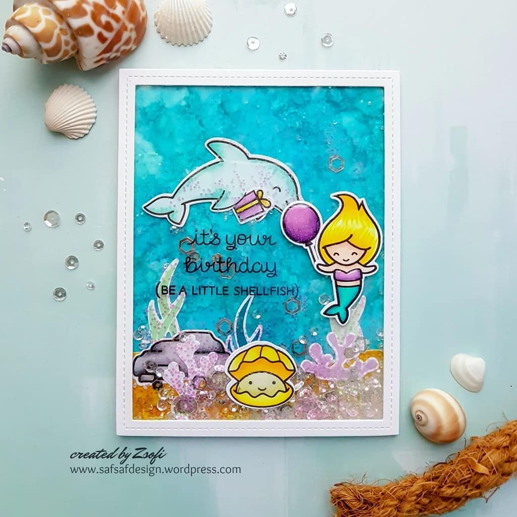 Here is my first card in the under the sea card series birthday