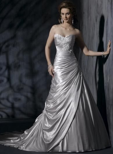 Silver brides maid silver wedding gown embellished lace for Silver and white wedding dresses