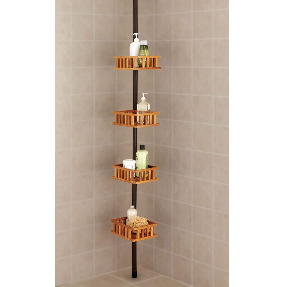 Teak Shower Caddy Tension Pole Teak Shower Bathroom Decor