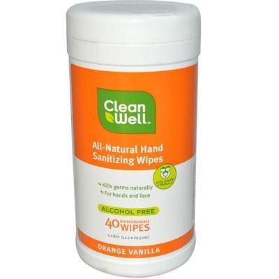 Cleanwell Hand Sanitizer Orange Vanilla Wipes 1x40 Ct Hand