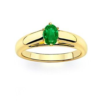Angara Emerald Solitaire Ring in Yellow Gold 7fIBVb9