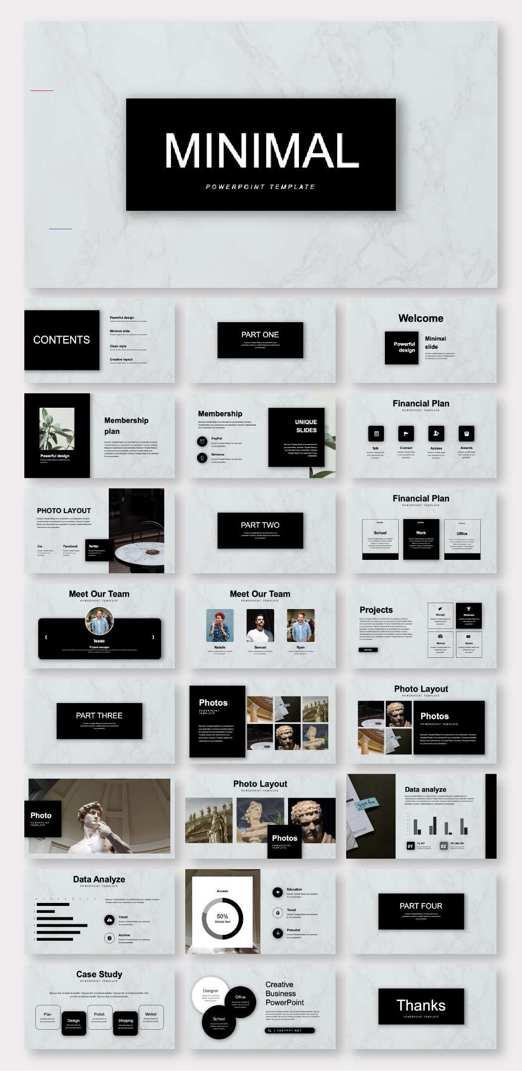 Black & Marble Minimalist Business Plan Presentation