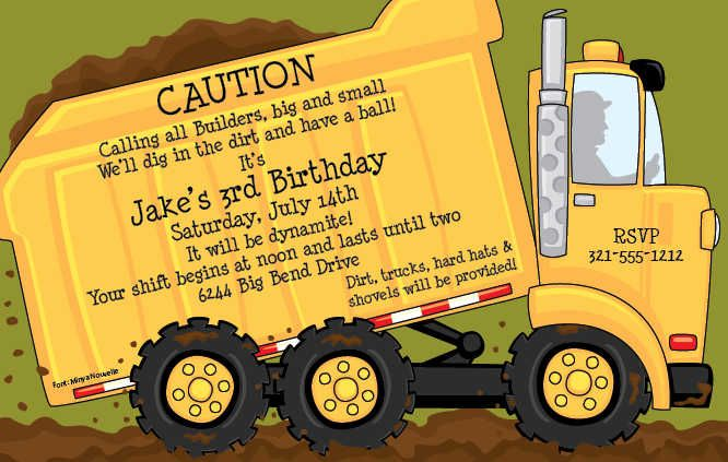 Dump Truck Party Invitations By Paper So Pretty