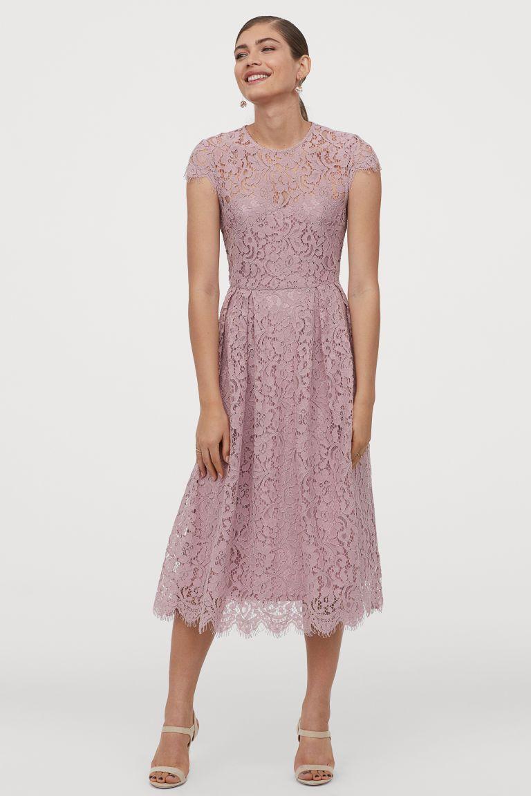 Wadenlanges Spitzenkleid Altrosa Ladies H M De In 2020 Spitzenkleid Wadenlanges Kleid Kleider H M
