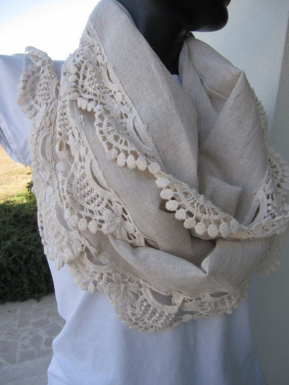 Natural organic Oatmeal Turkish linen cotton blend fabric lace ruffle long scarf, women's accessories Scarves by Bella Turka on Etsy, $25.00