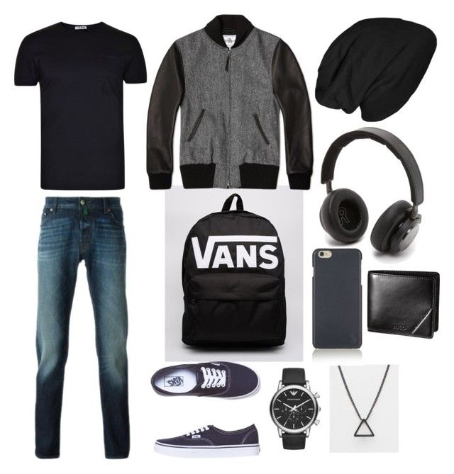 """""""Black and grey jacket"""" by chiotturbo ❤ liked on Polyvore featuring L(!)W Brand, Vans, Golden Bear, Jacob Cohёn, Emporio Armani, ASOS, Bang & Olufsen, Polo Ralph Lauren, men's fashion and menswear"""