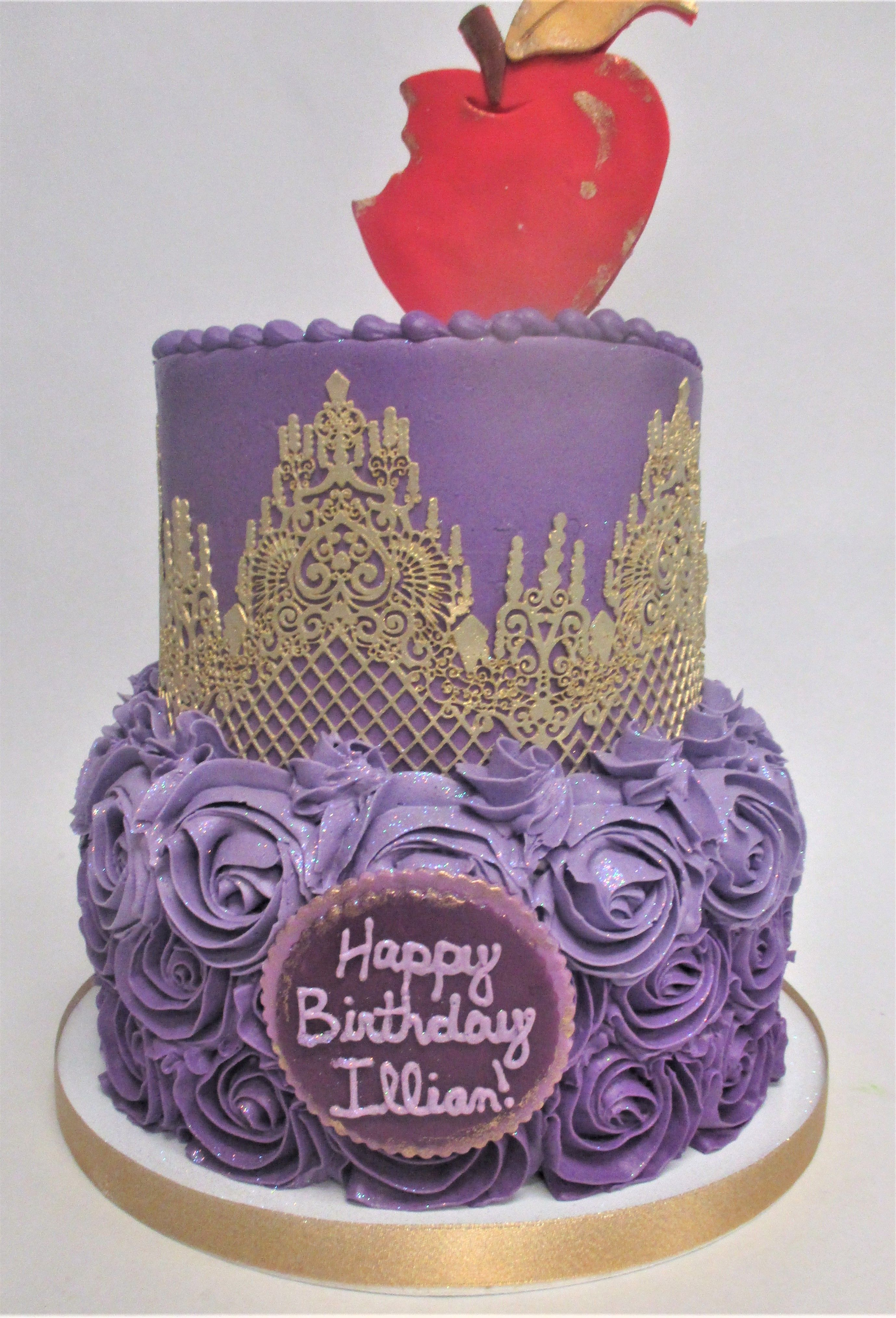 Elegant Fun 2Tier Purple Snow White Princess Inspired Birthday Cake