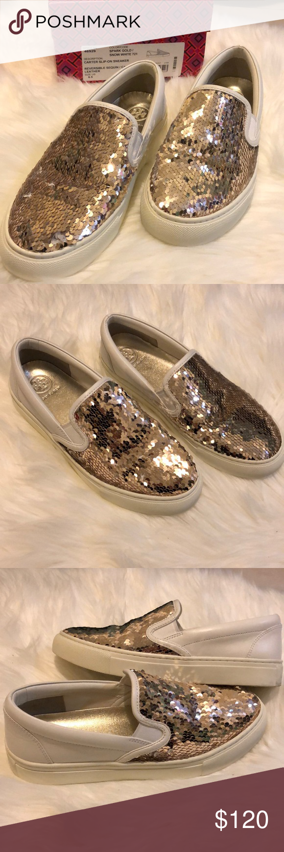 c7ae958a7da NIB Tory Burch sequin Carter Slip on sneakers Brand new in Box - Tory  Burch reversible sequin calf leather slip on sneaker in Gold Snow white.