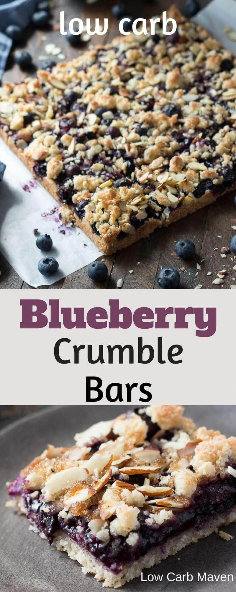 Low carb blueberry crumble bars made with almond flour are