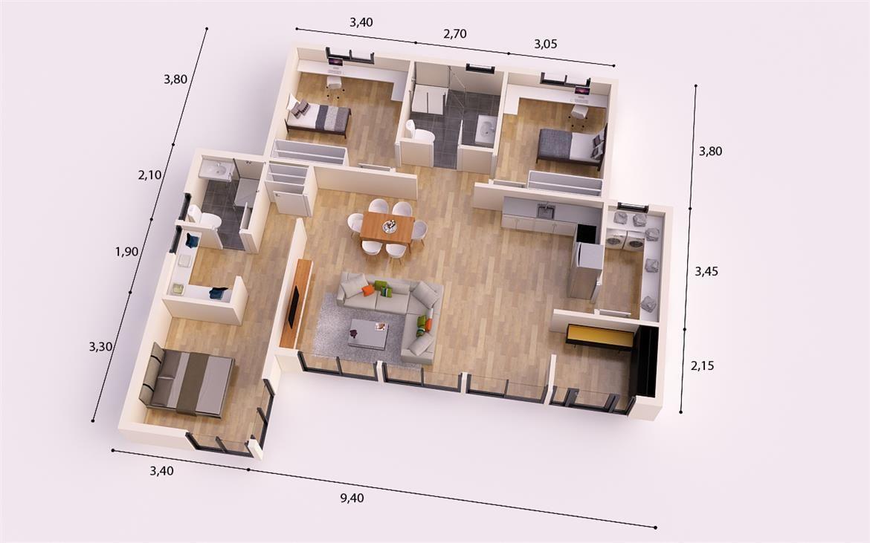 Malaga donacasa 130 m2 hormig n celular con trasdosado for Tejados de madera casas