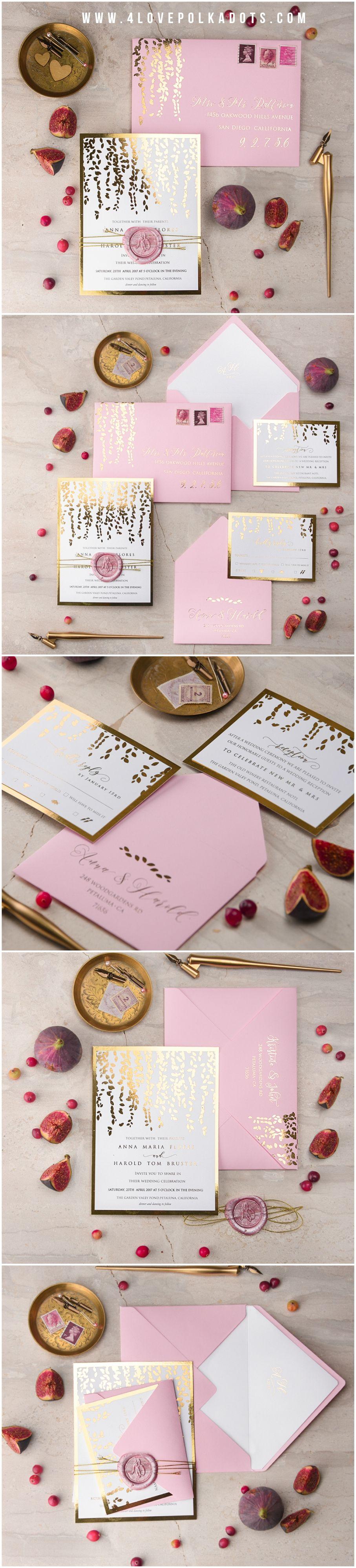 Adrinette Gold Foil Pink Wedding Invitation