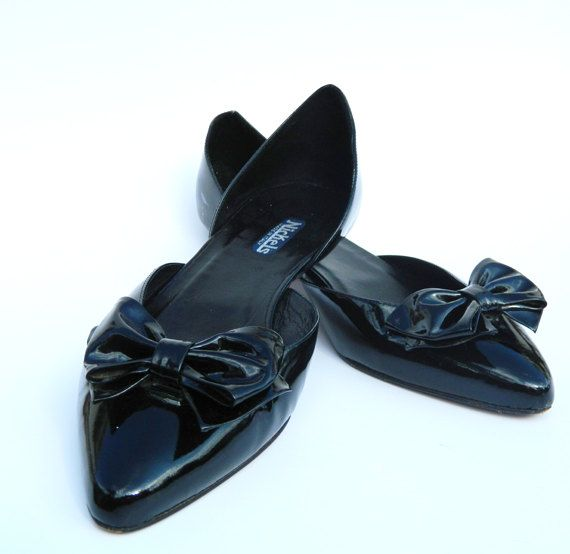 Black Patent Leather Bow Flats