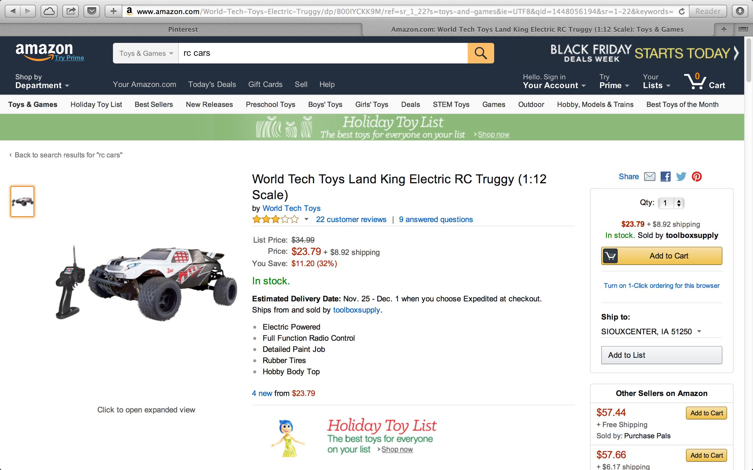 amazon rc car, Land King Electric Truggy Preschool toys
