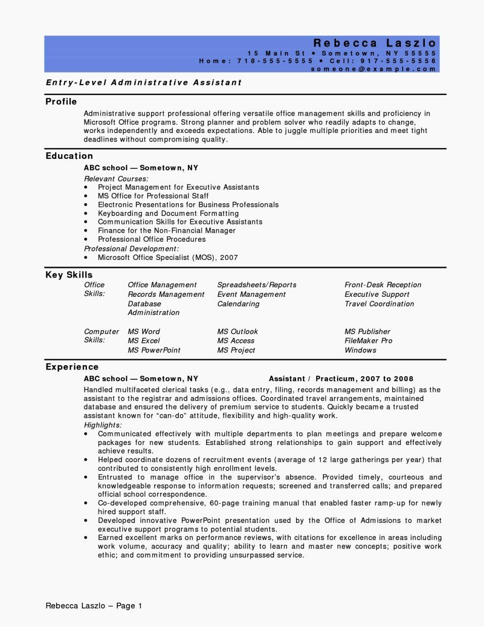 40 Entry Level Marketing Resume in 2020 Administrative