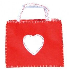 Felt Valentine Bag with blanket stitching. Adorable tote for holding valentines! At Bella Luna Toys. $9.95