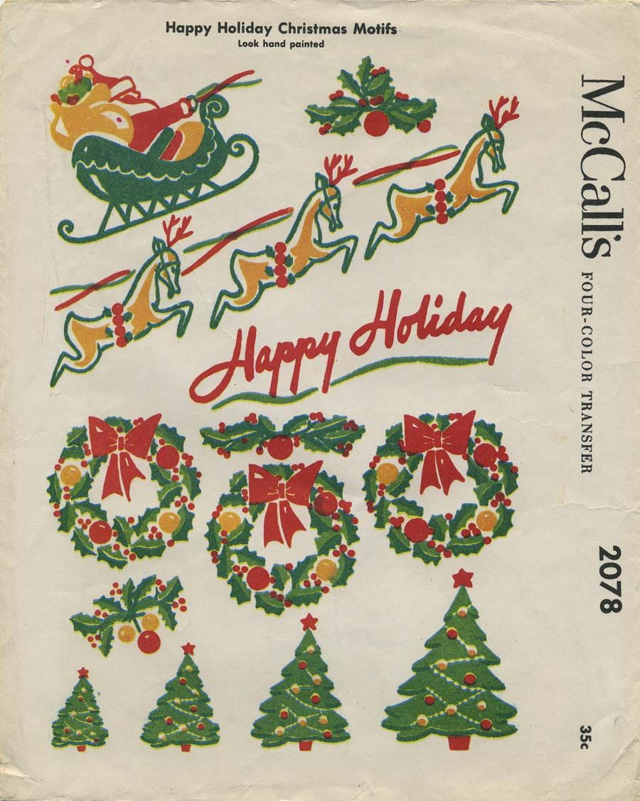 Vintage Christmas Sewing Pattern | Happy Holidays Christmas Motifs ...