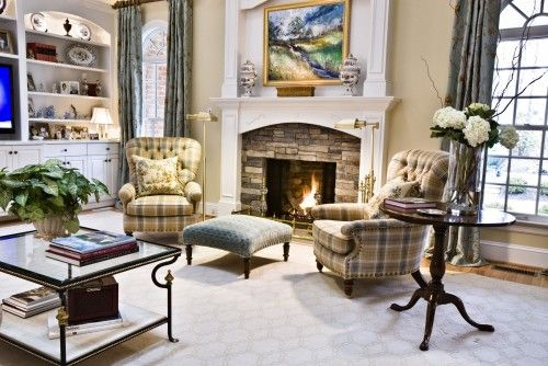 A cozy fireplace is the perfect backdrop for these empty-nesters to enjoy their favorite book or TV show.