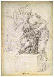 Жертвоприношение Исаака  1524-26 Черный и красный мел, 415 х 290 мм Каса Буонарроти, Флоренция