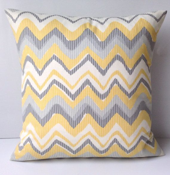 Gray Yellow Pillow Chevron Pillow Cover Decorative by nestables