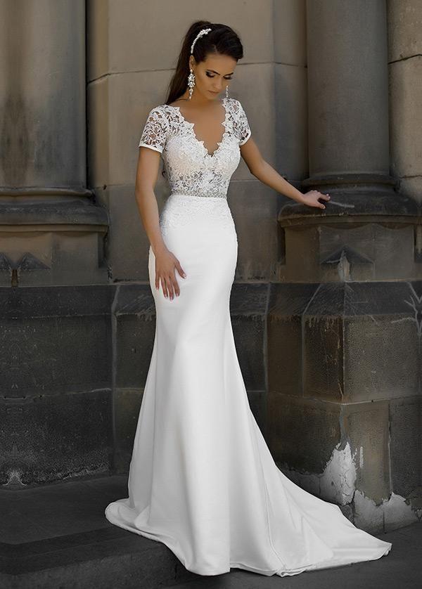 Brautkleider Einfache, Junoesque Lace & Satin V-Ausschnitt Ausschnitt Meerjungfrau Brautkleider Mit Bowknot