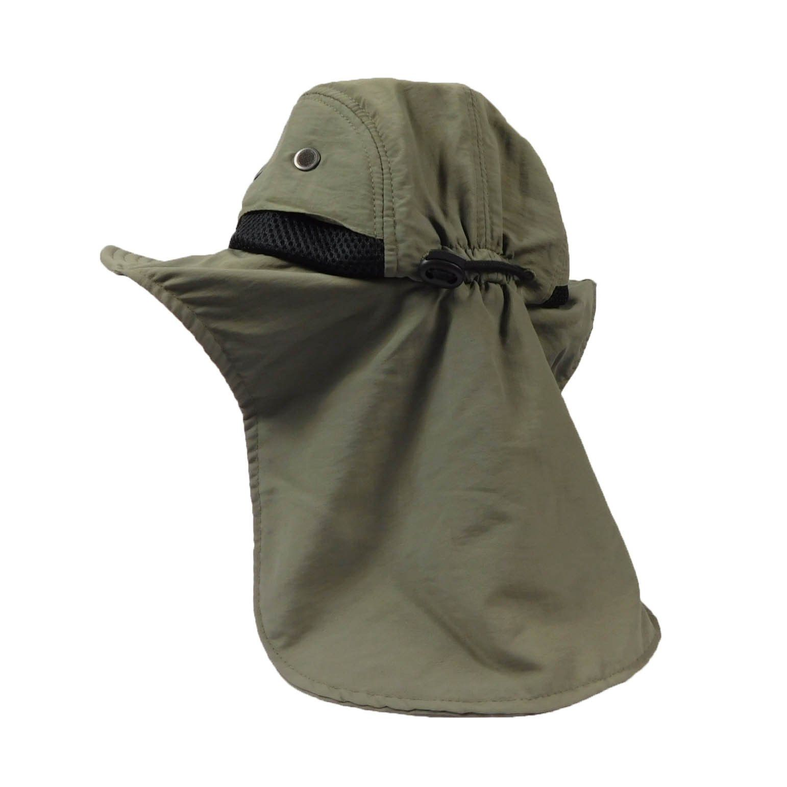 Four panel crown with soft bill. Mesh side panel. Moisture wicking  sweatband. Drawstring with lock. Flap covers neck. One size fits most. 100%  polyester. 60e8d1ace26