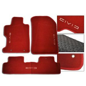 06 11 Honda Civic Red Oem Fit Floor Mats Front Rear W Civic Logo