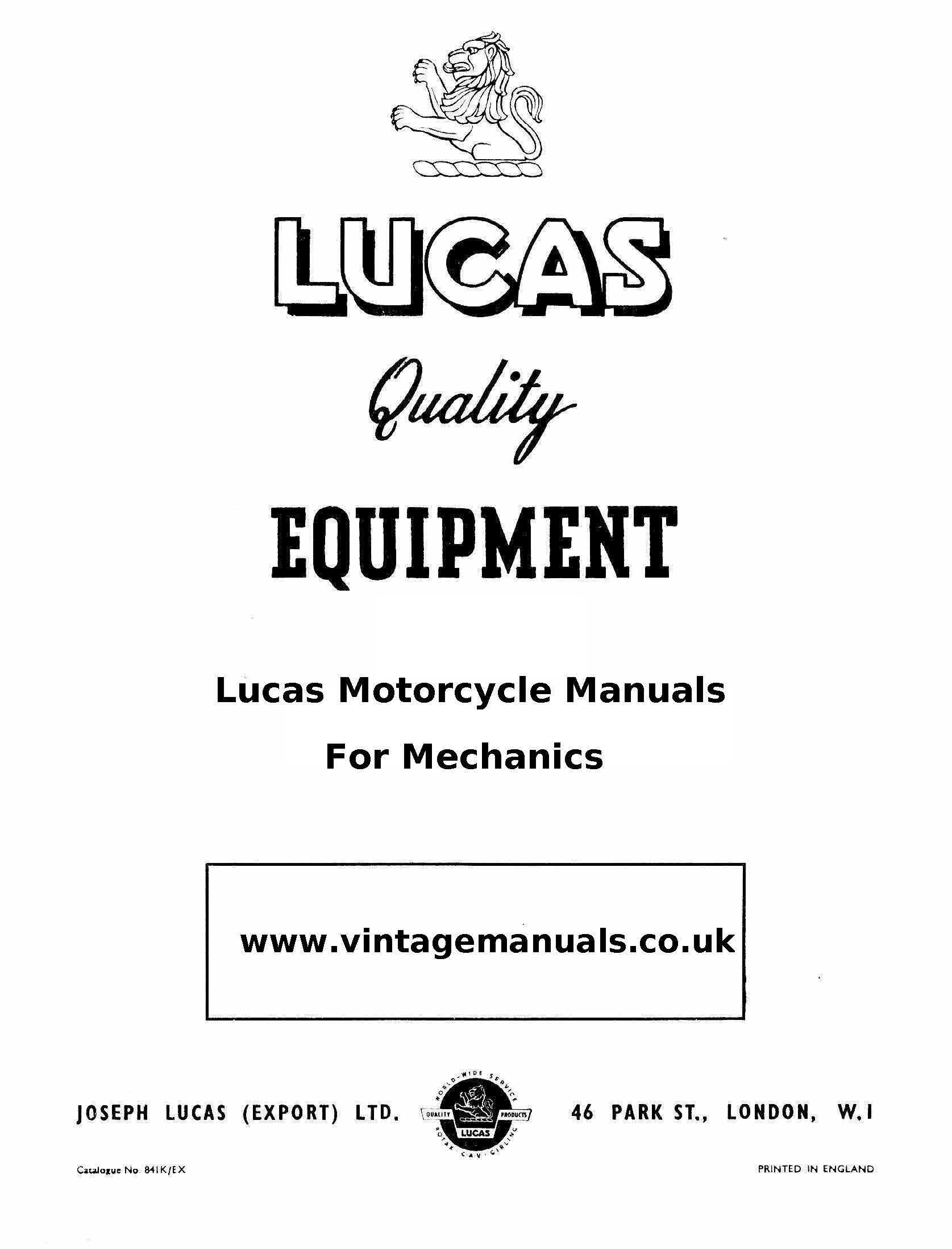 Lucas Electrical Motorcycle manuals for mechanics Good collection of  Vintage…