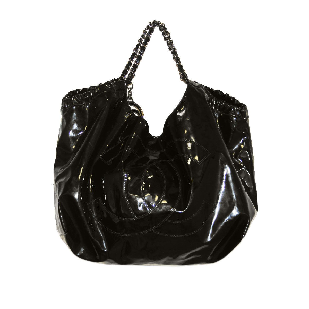 Authentic CHANEL Black Patent Leather XL Cabas Tote Bag