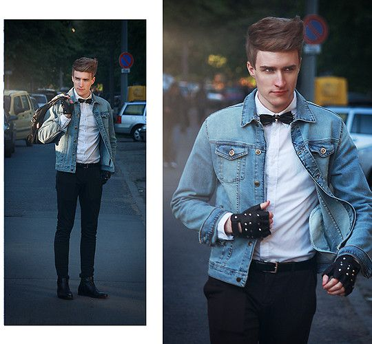 Relastik Studded Bow Tie, HM Shirt, Zara Denim Jacket, Pull Bear ...