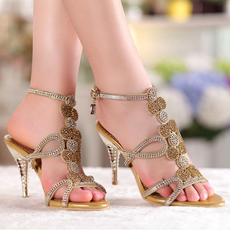Popular Gold   Blue Sandals Floral Rhinestones 8cm High Heels Prom Evening  Party Dress Women Lady · Bridal Wedding ShoesProm ... ebbd34357c48