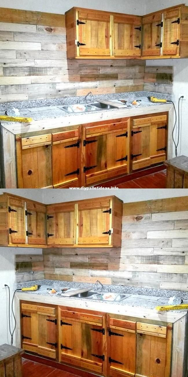 Unique Wooden Pallets Kitchen Cabinet Projects Pallet Kitchen Cabinets Wood Pallet Furniture Diy Wood Projects Furniture