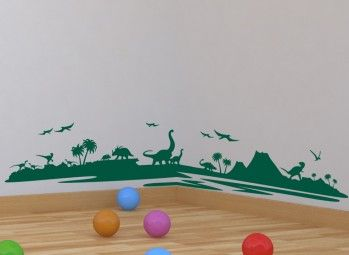Dinosaur Landscape Boys Wall Art Sticker Personalised