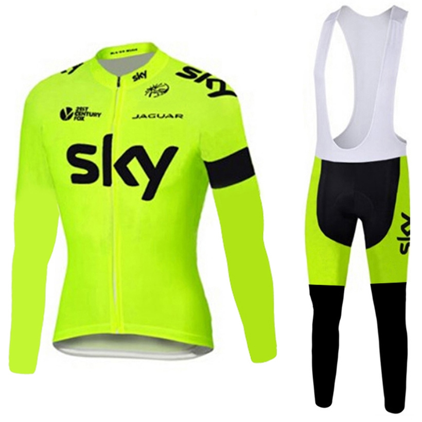 (36.10$)  Buy here  - 2017 fluor sky cycling jersey bike pants set Ropa Ciclismo mens thermal fleece winter team cycling wear bicycle clothing