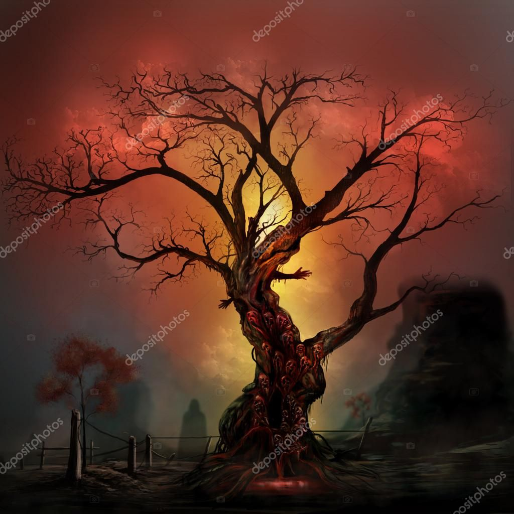 Scary horror tree with zombie and monster demon faces